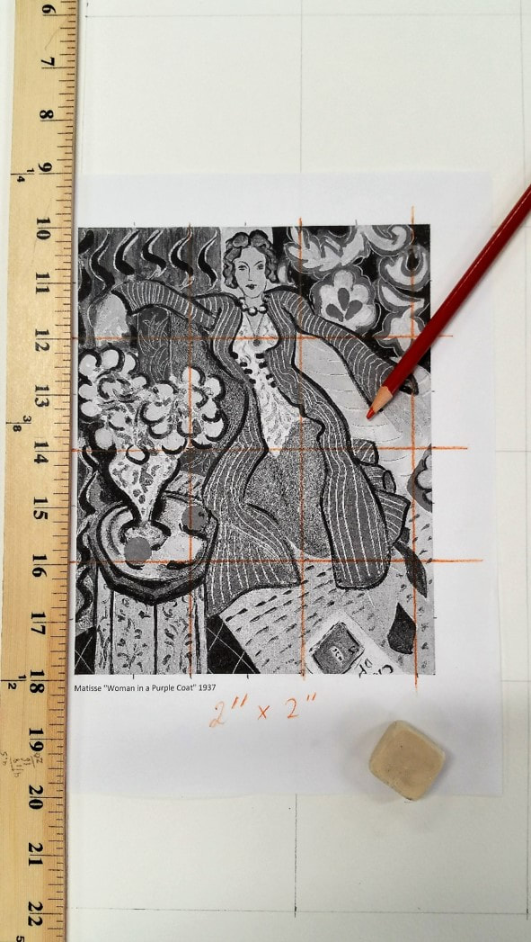 Photo copy of Matisse painting with ruler