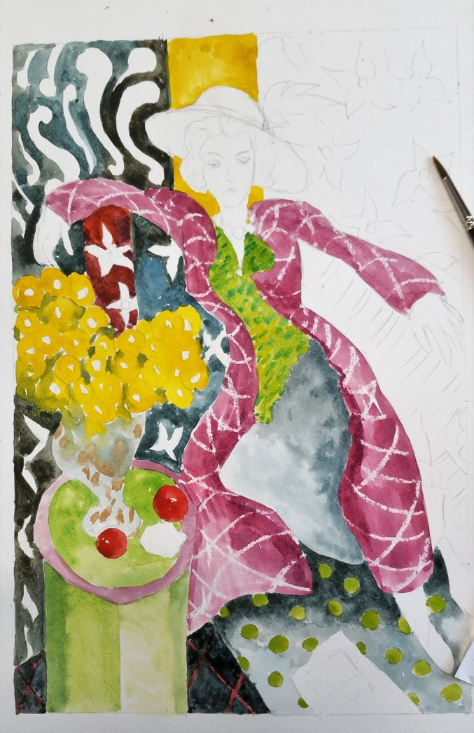 Matisse watercolor art project in progress #2
