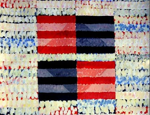 Abstract Painting with red and black stripes by Bruce Black