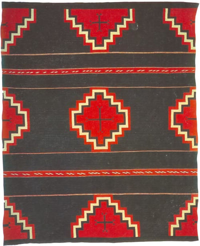 Navajo rug with red diamond